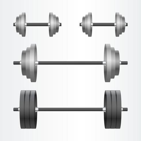 Metal Realistisk Hantel Fitness Bakgrund Set vektor