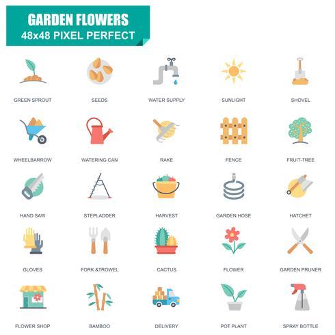 Einfacher Satz Garten-Blumen bezog sich Vektor-flache Ikonen vektor