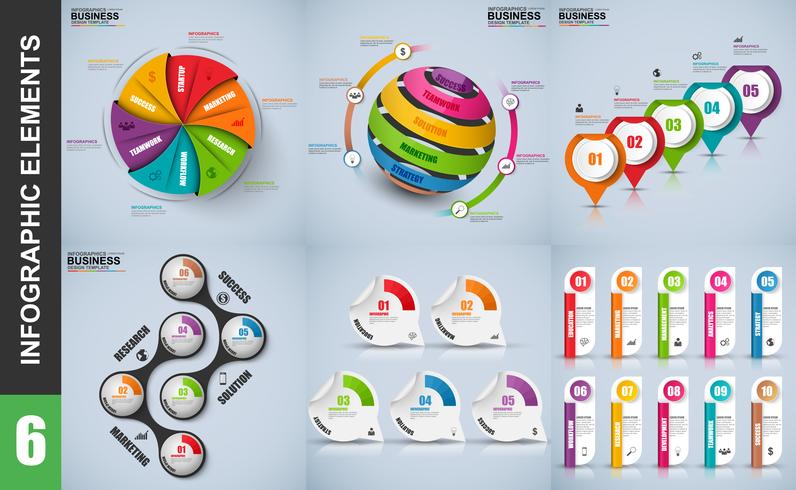 Satz des Darstellungsgeschäfts 3d infographics Vektordesignschablone vektor