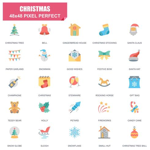 Enkel uppsättning jul relaterade vektor platt ikoner