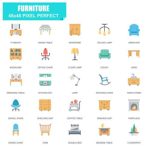 Enkel uppsättning av möbler relaterade vektor platta ikoner