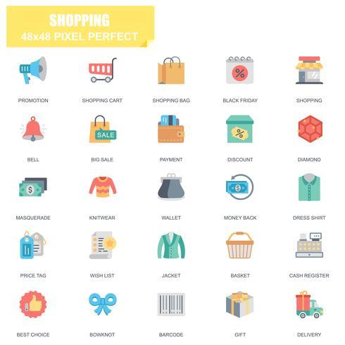 Enkel uppsättning shopping relaterade vektor platta ikoner