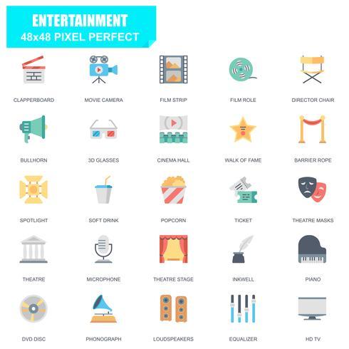 Enkel uppsättning underhållningsrelaterade vektor platta ikoner