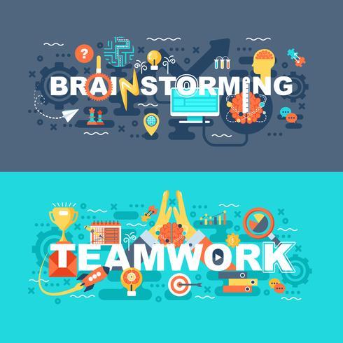 Teamwork och brainstorming uppsättning av platt koncept vektor