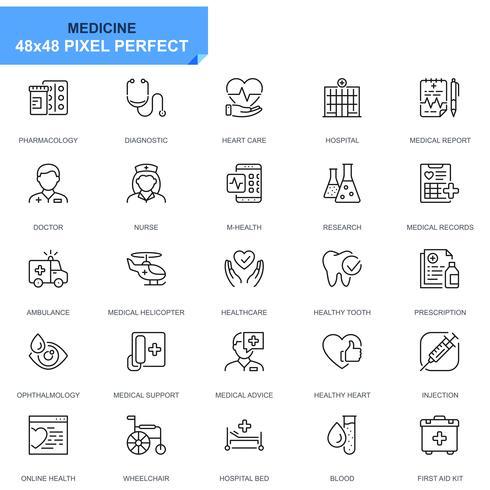 Enkel uppsättning sjukvård och medicinlinjeikoner för webbplats- och mobilapps vektor