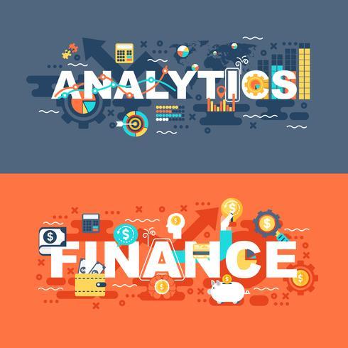 Analytik- und Finanzsatz des flachen Konzeptes vektor