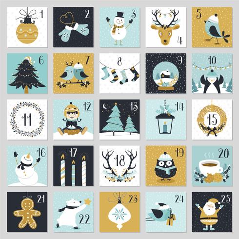 Cute Weihnachten Countdown Adventskalender zum ausdrucken vektor