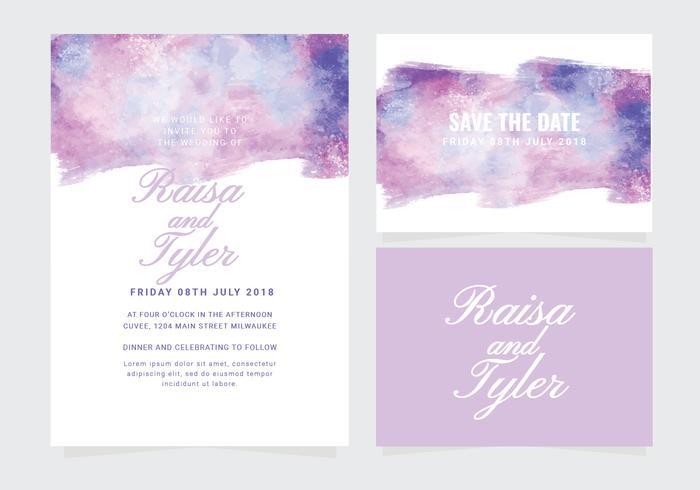 Vektor vattenfärg bröllop inbjudan