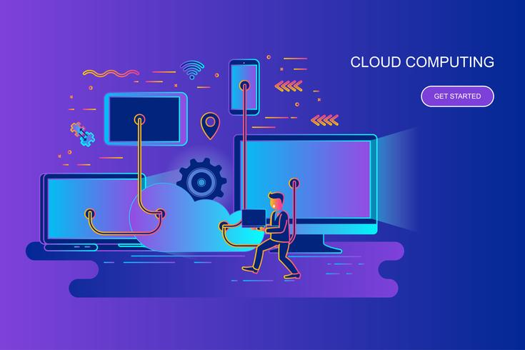 Modern gradient plattlinjekoncept webbanner av cloud computing med dekorerade små människor karaktär. Målsida mall. vektor