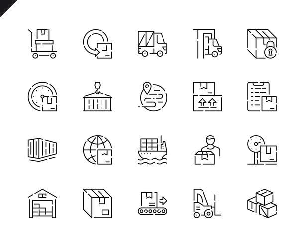 Einfache Set-Paket-Lieferungs-Linie-Ikonen für Website und bewegliche Apps. vektor