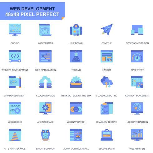 Enkel Set Web Disign och utveckla platta ikoner för webbplats och mobilappar vektor