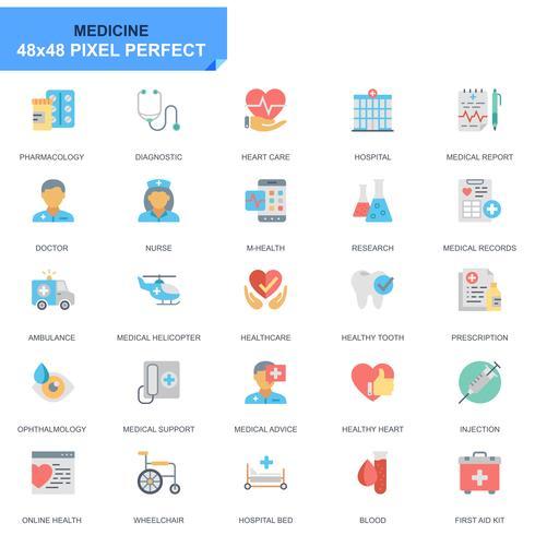 Simple Set Healthcare och Medicine Flat Ikoner för webbplats och mobilappar vektor