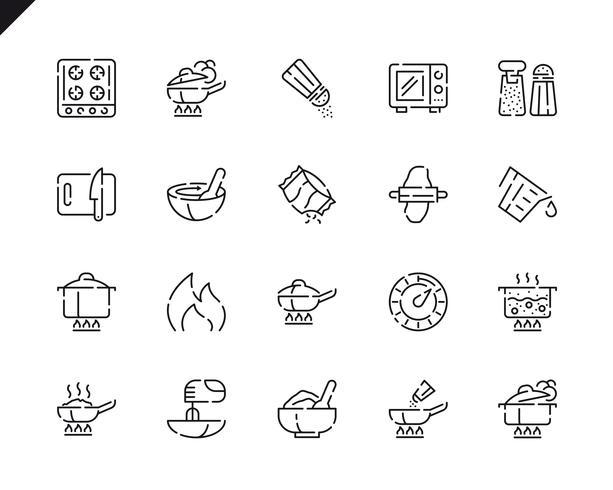 Einfache Set Cooking Line Icons für Website und Mobile Apps. vektor