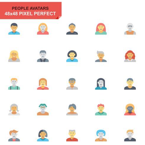 Simple Set People Avatar Flat Ikoner för Webbsida och Mobila Apps vektor