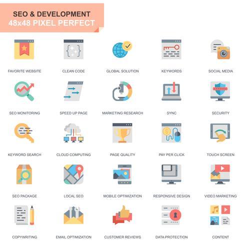Enkel Set Seo och webboptimering platt ikoner för webbplats och mobilappar vektor
