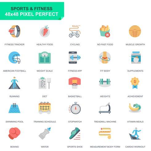 Einfache Set Sport und Fitness Wohnung Icons für Website und Mobile Apps vektor