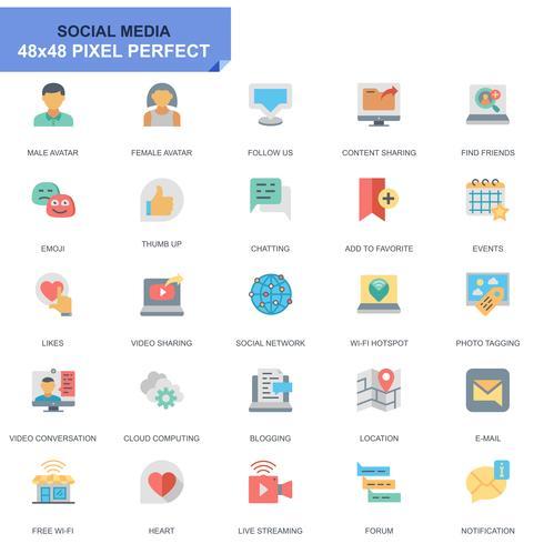 Einfache Set Social Media und Netzwerk flache Icons für Website und Mobile Apps vektor