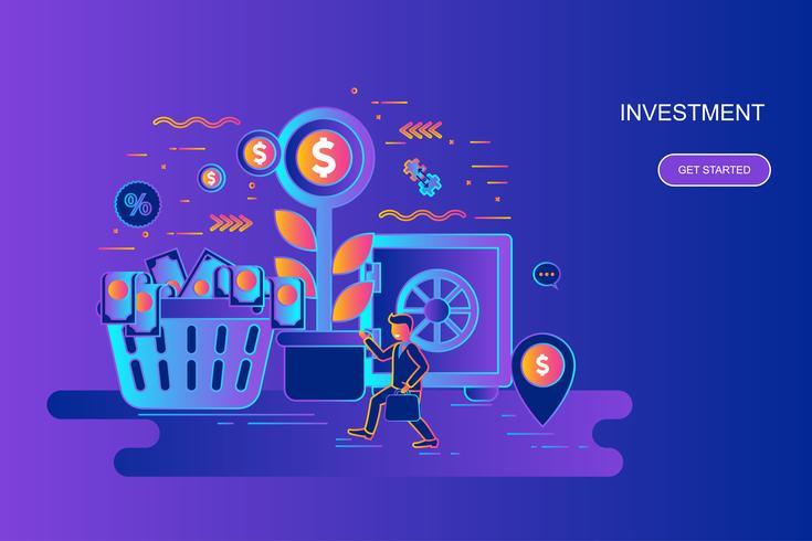 Modern gradient platt linje koncept webb banner av investering och tillväxt ekonomi med dekorerade små människor karaktär. Målsida mall. vektor