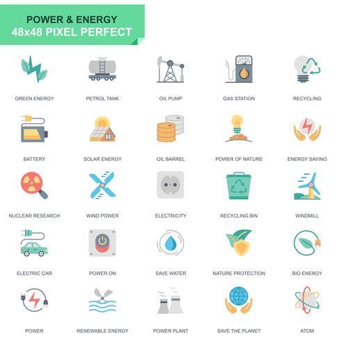 Einfache Set-Energie-Industrie und Energie-flache Ikonen für Website und bewegliche Apps vektor