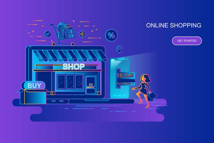 Konzeptnetzfahne des modernen Steigungsflachen Netzes des on-line-Einkaufens mit verziertem Zeichen der kleinen Leute. Zielseitenvorlage vektor