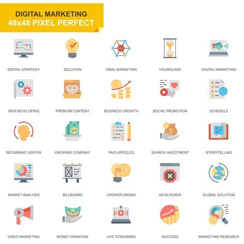 Einfache Satz-Geschäfts-und Marketing-flache Ikonen für Website und bewegliche Apps vektor