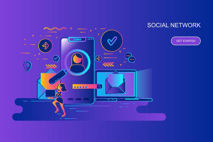 Modern gradient platt linje koncept webb banner av sociala nätverk med dekorerade små människor karaktär. Målsida mall. vektor