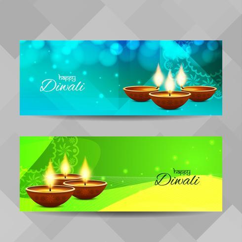 Abstrakte glückliche Diwali-Fahnen eingestellt vektor
