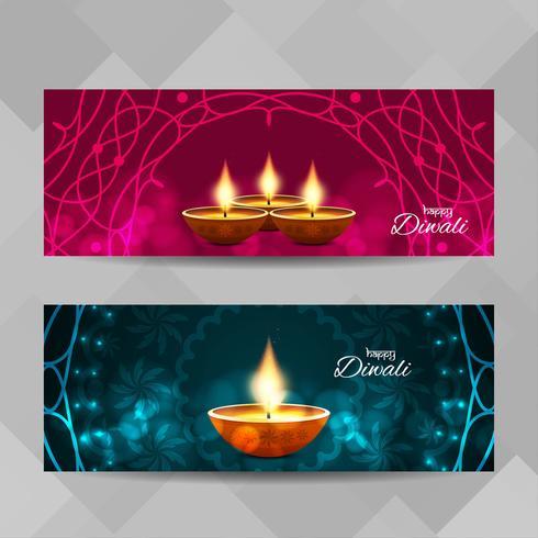 Abstrakte glückliche dekorative Fahnen Diwali eingestellt vektor