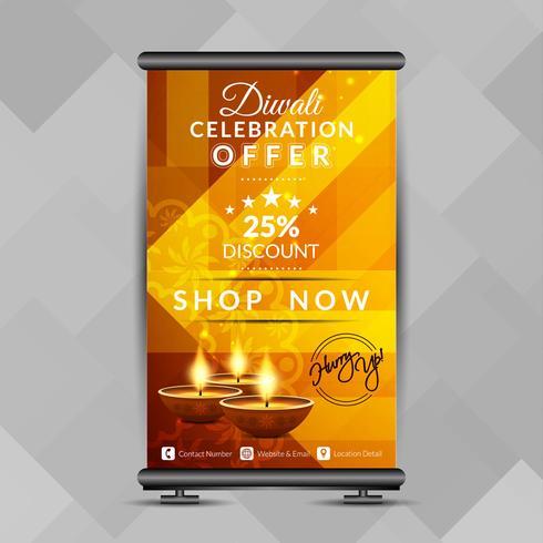 Abstraktes glückliches Diwali rollen oben Fahnendesignschablone vektor