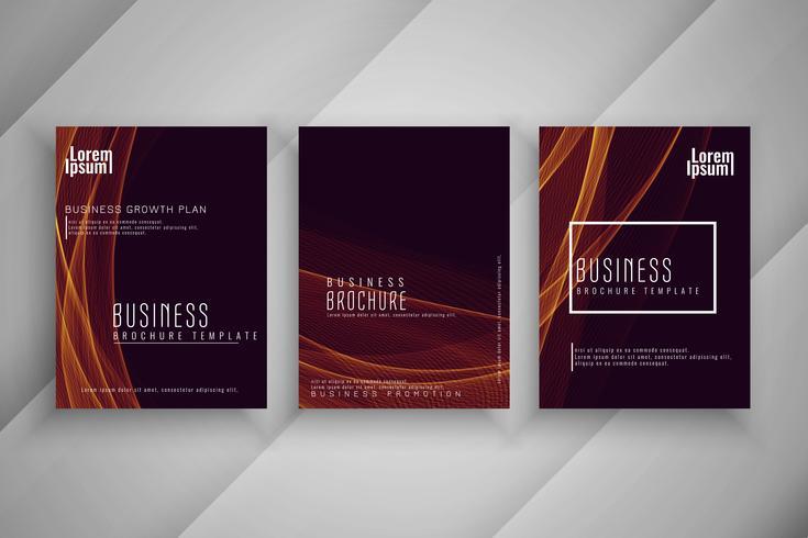 Abstrakter gewellter Geschäftsbroschüren-Schablonensatz vektor