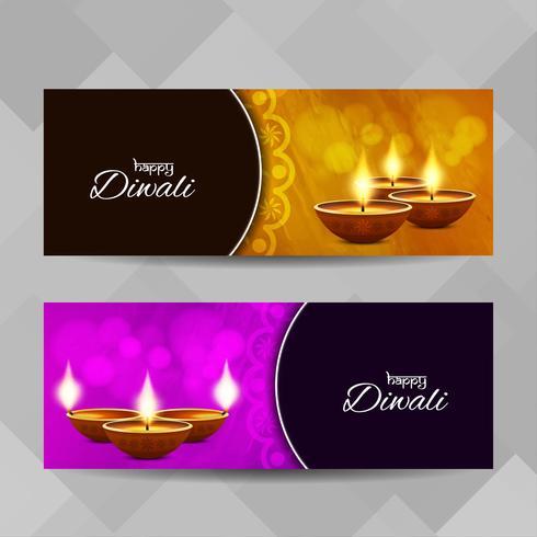 Abstrakt Happy Diwali religiösa banderoller uppsättning vektor