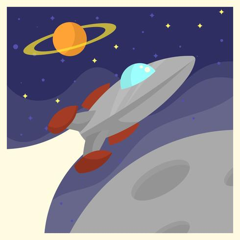 Vintage rymdskepp Voyager affisch vektor illustration
