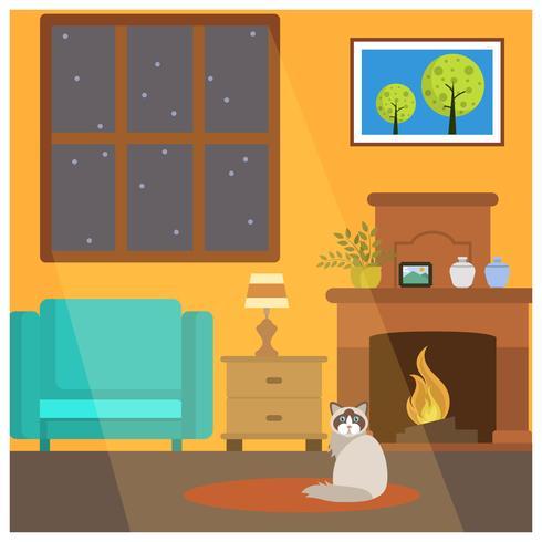 Platt söt katt sitta ner framför Fireside Vector Illustration