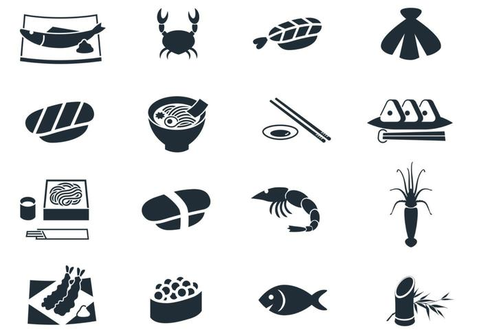 skaldjur ikon vektor pack