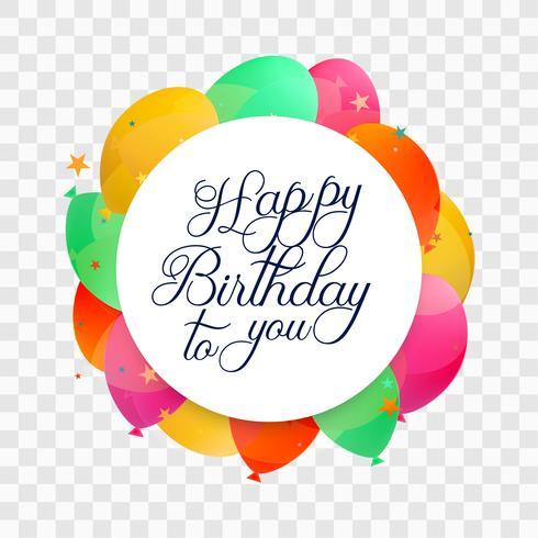 Vacker grattis på födelsedagen kort färgglada balonger bakgrund vektor