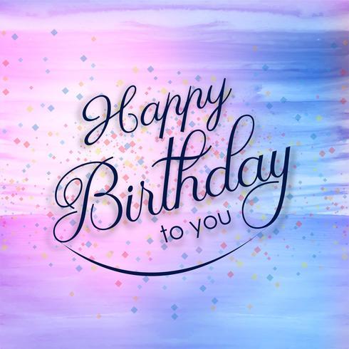Vacker grattis på födelsedagen kort färgrik akvarell bakgrund vektor