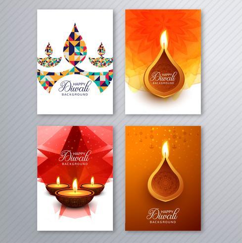 Affisch med en diya för diwali färgglada flygarmall samling vektor