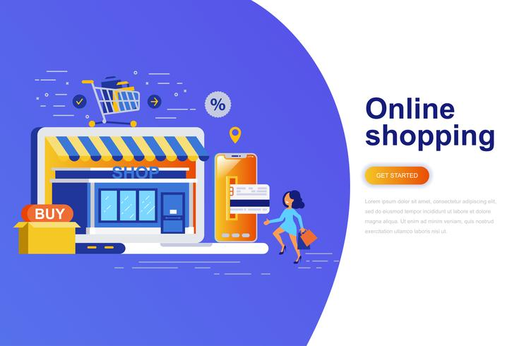 Online shopping modern platt koncept webb banner med dekorerade små människor karaktär. Målsida mall. vektor