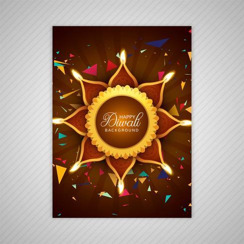 Vacker lycklig diwali färgrik broschyr mall design vektor