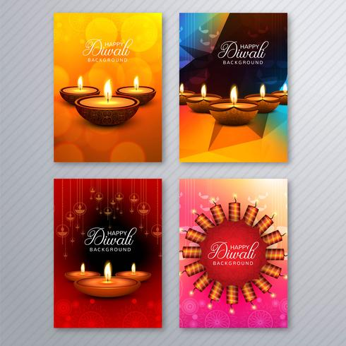 Eleganter Diwali-Grußkartenschablonenbroschüren-Sethintergrund vektor