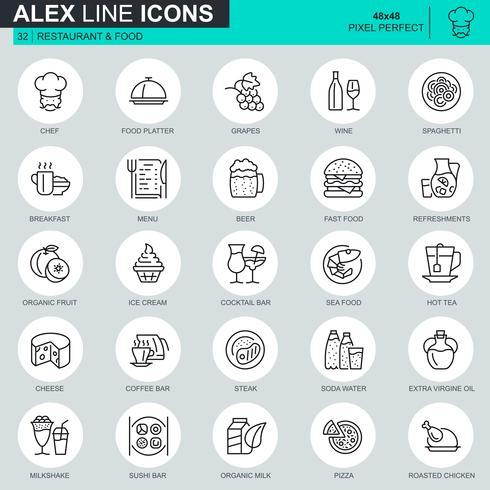 Tunna linjerestaurang och matikoner inställda för webbplats och mobilwebbplats och appar. Innehåller sådana ikoner som snabbmat, meny, ekologisk frukt, bar. 48x48 Pixel Perfect. Redigerbar stroke. Vektor illustration.