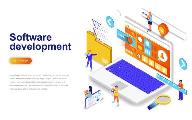 Modernes isometrisches Konzept des flachen Designs des Software-Entwicklung. Entwickler und Menschen Konzept. Zielseitenvorlage vektor