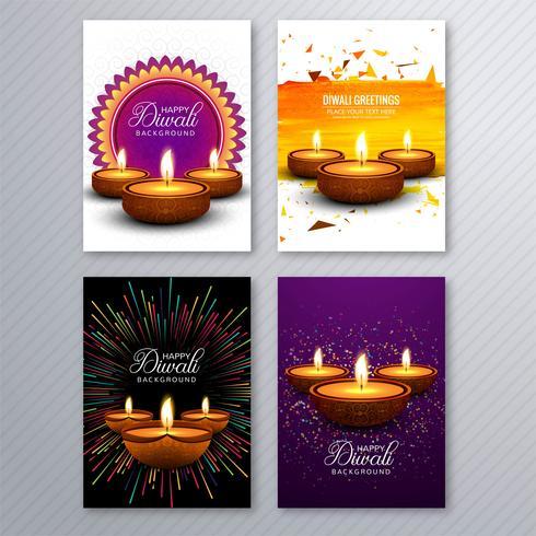Härlig diwali hälsningskort mall broschyr uppsättning design vektor