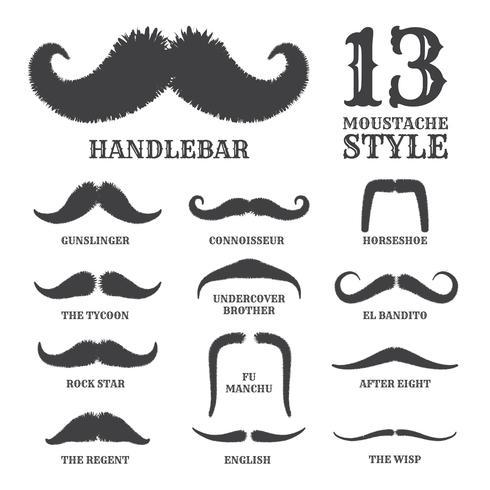 Isolerad silhuett mustasch samling med namn på stil. vec vektor