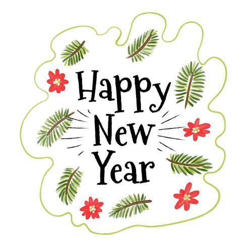 Söta julblad och blomma med nytt år Text vektor