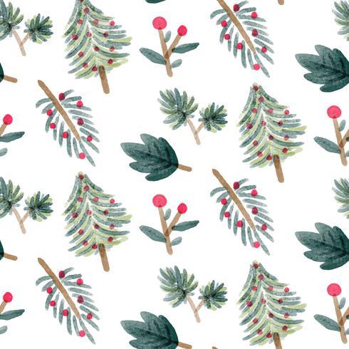 Söta Chritsmas löv med trädmönster vektor