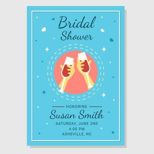 Bridal Shower Poster Med Champagne Toast Vector