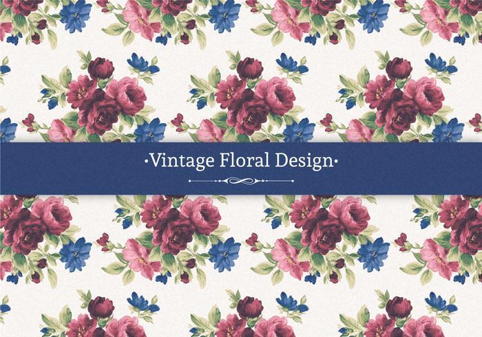 Röd och Blå Vintage Blommig Bakgrund vektor