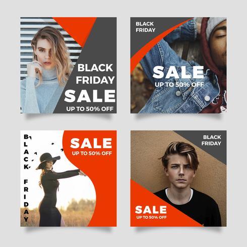 Flat Modern Black Friday Social Media Post Vector Mall