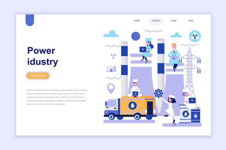 Målsida mall för kraftindustrin modernt plattdesign koncept. Lärande och människokoncept. Konceptuell platt vektor illustration för webbsida, webbplats och mobil webbplats.